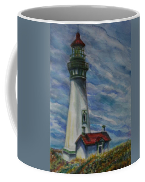 Quin Sweetman Coffee Mug featuring the painting Yaquina Head Lighthouse Original Painting by Quin Sweetman