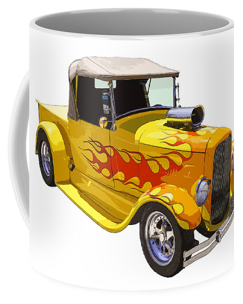 1928 Ford Pickup Coffee Mug featuring the photograph Yellow 1928 Hotrod Pickup Truck by Keith Webber Jr