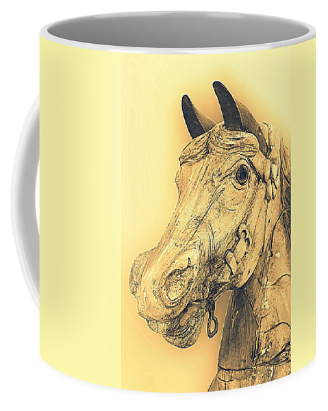 Horse Coffee Mug featuring the photograph Yellow Carousel Horse by Lynn Sprowl