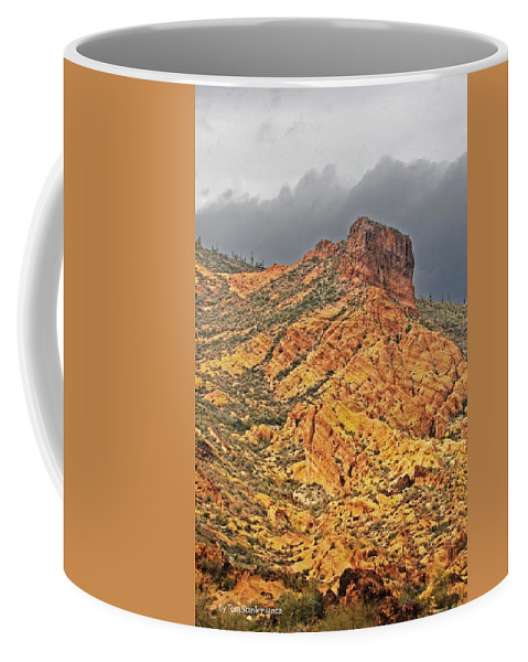 Yellow Colored Rock Along The Apache Trail Coffee Mug featuring the photograph Yellow Colored Rock Along The Apache Trail by Tom Janca