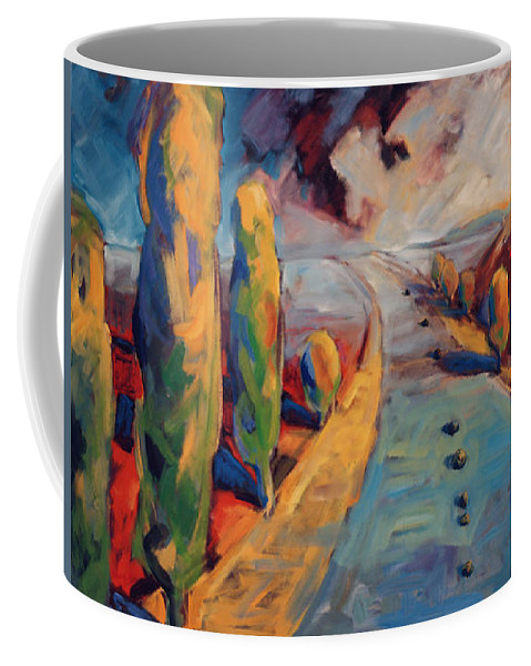 California Coffee Mug featuring the painting Yellow Cypress by Konnie Kim