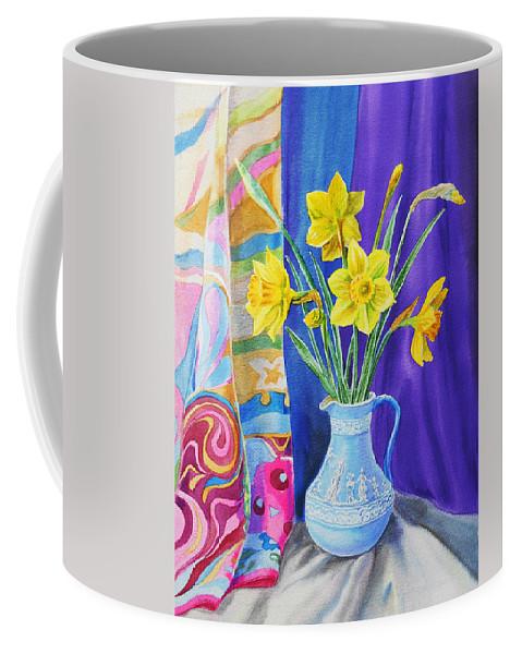 Daffodil Coffee Mug featuring the painting Yellow Daffodils by Irina Sztukowski