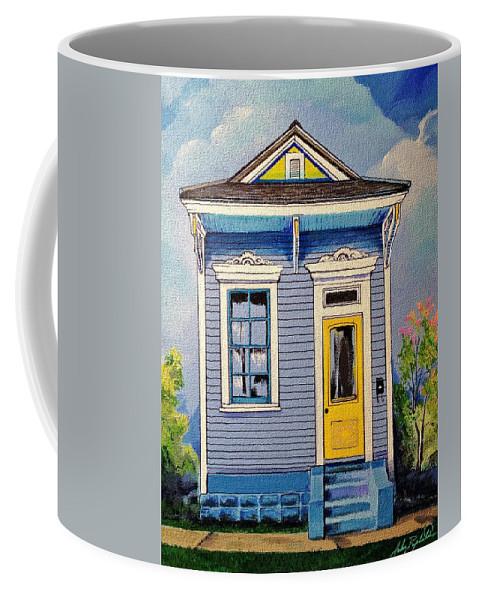 Yellow Coffee Mug featuring the painting Yellow Door Shotgun by John Duplantis