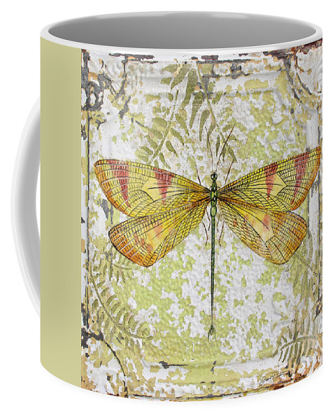 Acrylic Painting Coffee Mug featuring the painting Yellow Dragonfly On Vintage Tin by Jean Plout