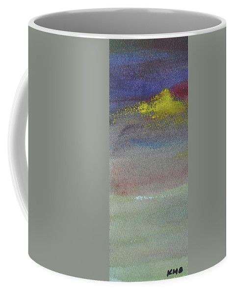 Abstract Coffee Mug featuring the painting Yellow Emerges by Kimberly Maxwell Grantier
