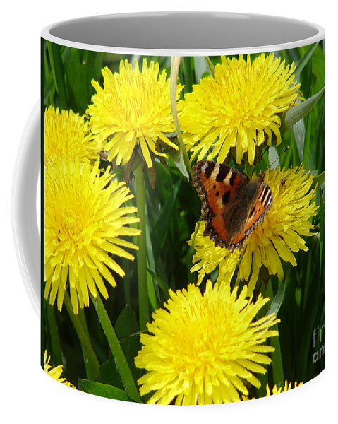 Butterfly Coffee Mug featuring the photograph Yellow Flowers by Carol Lynch