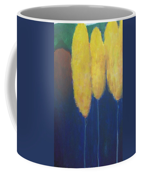 Landscape Coffee Mug featuring the painting Yellow Forest by Vesna Antic