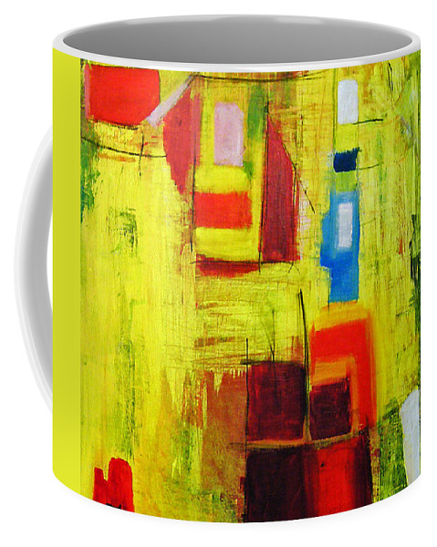 Abstract Painting Coffee Mug featuring the painting Yellow by Jeff Barrett