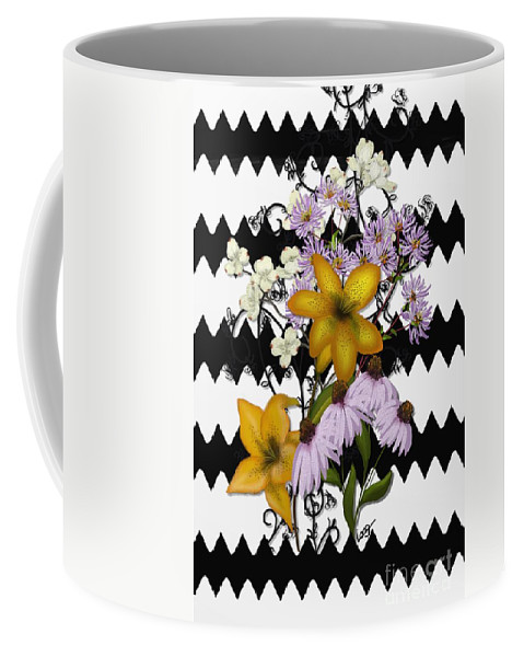 Zigzag Coffee Mug featuring the painting Yellow Lilies On Black And White Zigzag by Nancy Long