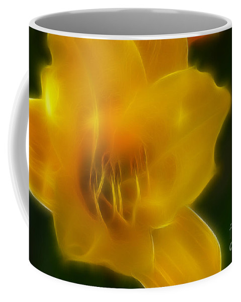 Flower Coffee Mug featuring the photograph Yellow Lily 6069-fractal by Gary Gingrich Galleries
