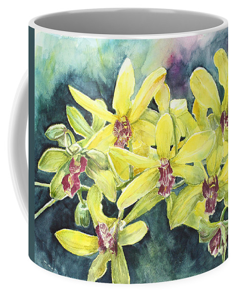 Yellow Coffee Mug featuring the painting Yellow Orchids by Janis Lee Colon