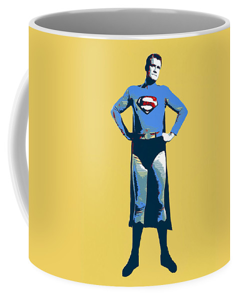Pop Art Coffee Mug featuring the mixed media Yellow Superman by Dominic Piperata