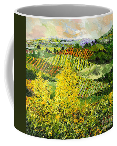 Landscape Coffee Mug featuring the painting Yellow Trees by Allan P Friedlander
