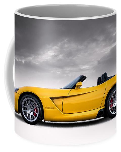Yellow Coffee Mug featuring the digital art Yellow Viper Roadster by Douglas Pittman