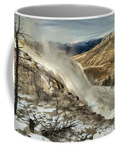 Yellowstone National Park Coffee Mug featuring the photograph Yellowstone Canary by Adam Jewell