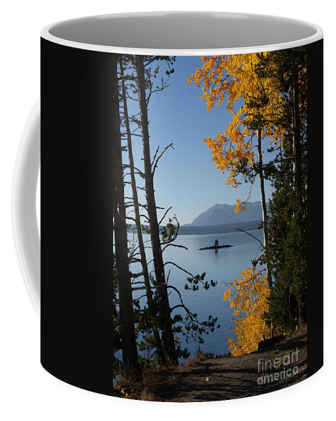 Yellowstone Coffee Mug featuring the photograph Yellowstone Lake At Dusk by Jacklyn Duryea Fraizer