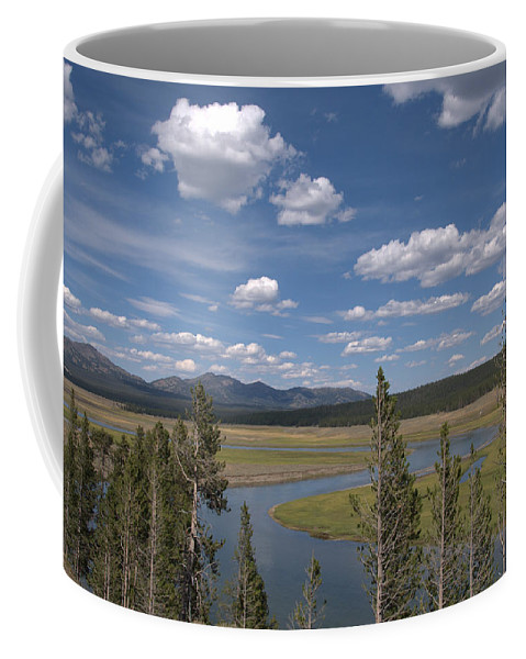 River Coffee Mug featuring the photograph Yellowstone River Through the Hayden Valley by Frank Madia
