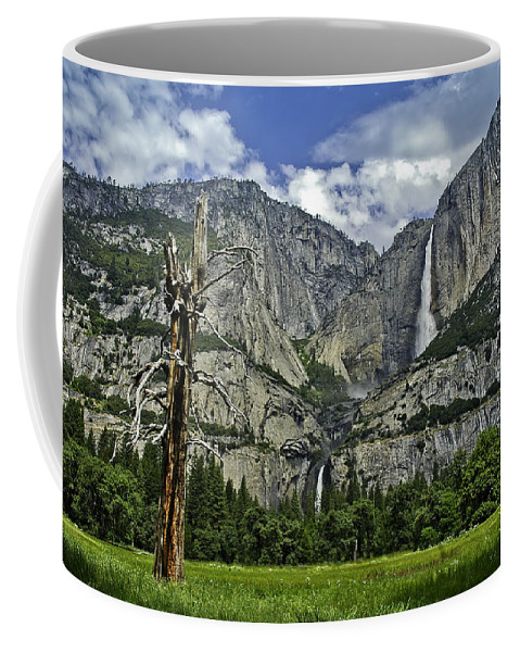 Usa Coffee Mug featuring the photograph Yosemite Upper And Lower Falls by LeeAnn McLaneGoetz McLaneGoetzStudioLLCcom