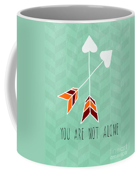 Heart Coffee Mug featuring the painting You Are Not Alone by Linda Woods