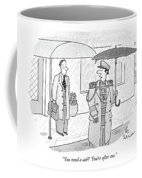 Urban Autos Problems Nature Workers  (doorman Under An Umbrella Talking To Resident Leaving Apartment Building In The Rain.) 119350 Lcu Leo Cullum Coffee Mug featuring the drawing You Need A Cab? You're After Me by Leo Cullum