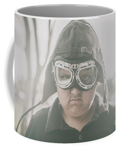 Angry Coffee Mug featuring the photograph Young Boy Pilot. Battle Ready by Jorgo Photography - Wall Art Gallery