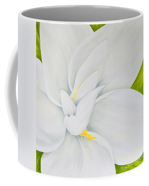Gardenia Coffee Mug featuring the painting Young Gardenia by Mary Deal