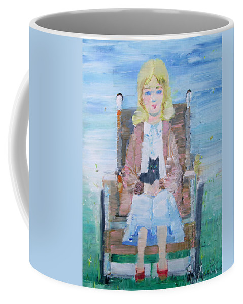 Girl Coffee Mug featuring the painting Young Girl-with Cat- On Wheelchair by Fabrizio Cassetta