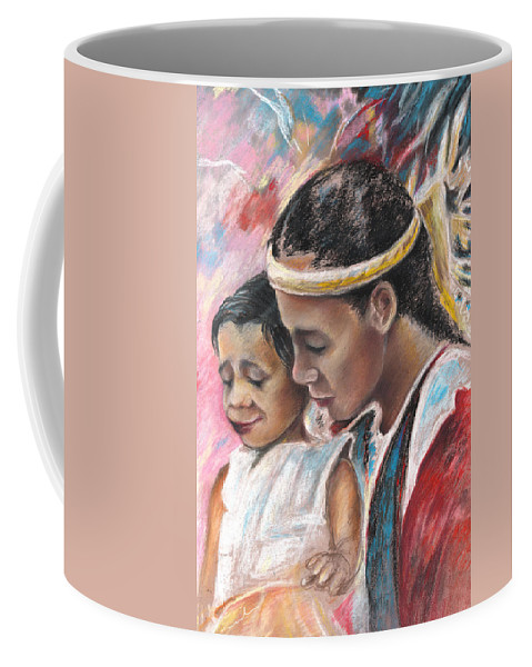 Travel Coffee Mug featuring the painting Young Polynesian Mama With Child by Miki De Goodaboom