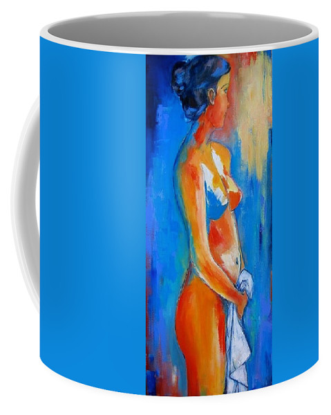 Nude Coffee Mug featuring the painting Young Woman by Elise Palmigiani