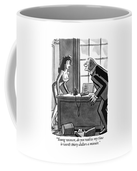 (old Executive To Secretary As He Chases Her Around Desk.) Money Coffee Mug featuring the drawing Young Woman by Peter Arno