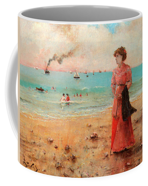 Alfred Stevens Coffee Mug featuring the digital art Young Woman With Red Umbrella by Alfred Stevens