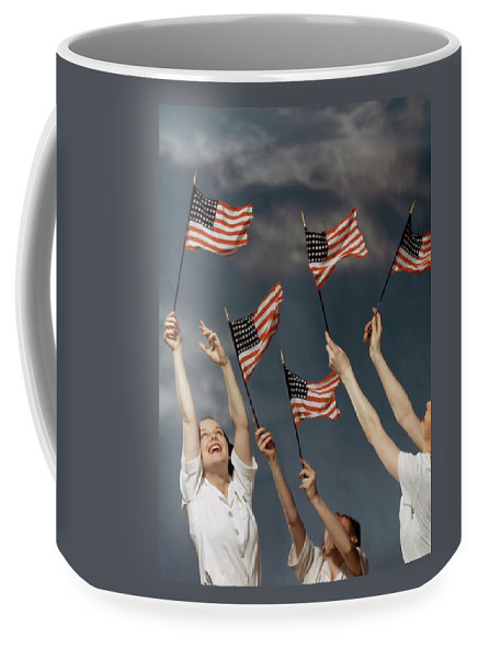 Young Women Waving American Flags Coffee Mug For Sale By Roger Kahan