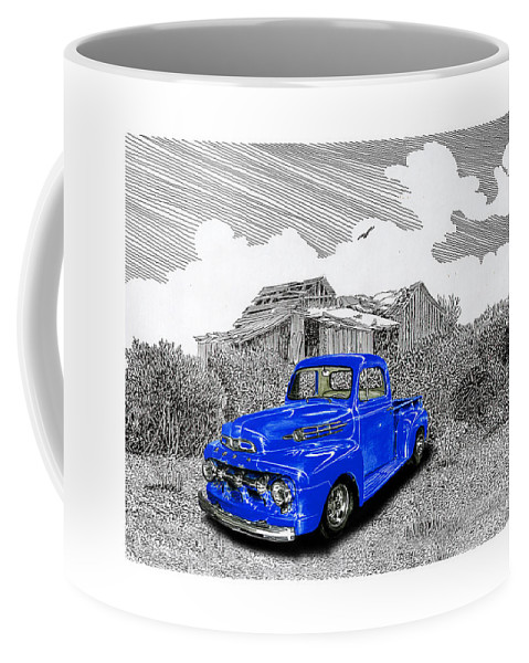 Selective Coloring Art Coffee Mug featuring the painting Your 1952 F 100 Pick Up In N M by Jack Pumphrey