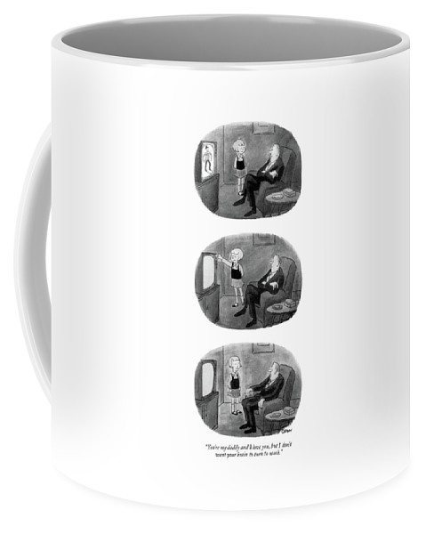 84124 Wob William O'brian (little Girl Turns Off Cowboy Program On Tv Coffee Mug featuring the drawing You're My Daddy And I Love by William O'Brian
