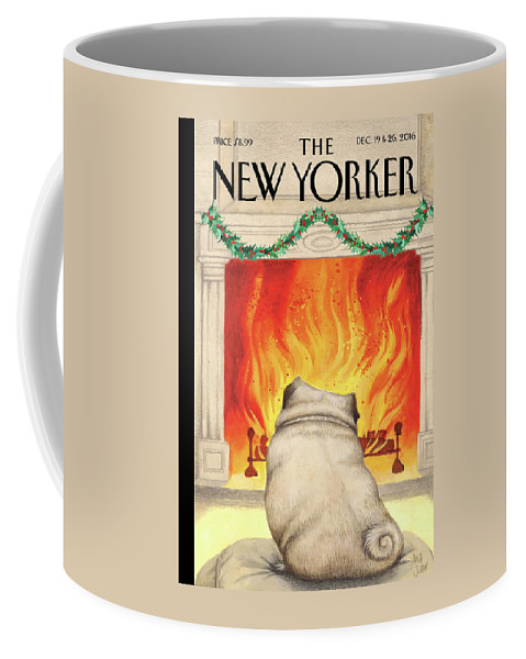 Pug Coffee Mug featuring the painting Yule Dog by Ana Juan