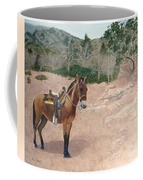 Mule Coffee Mug featuring the painting Zachary The Mule by Alicia Fowler