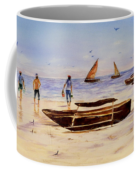 Beach Coffee Mug featuring the painting Zanzibar Forzani Beach by Sher Nasser