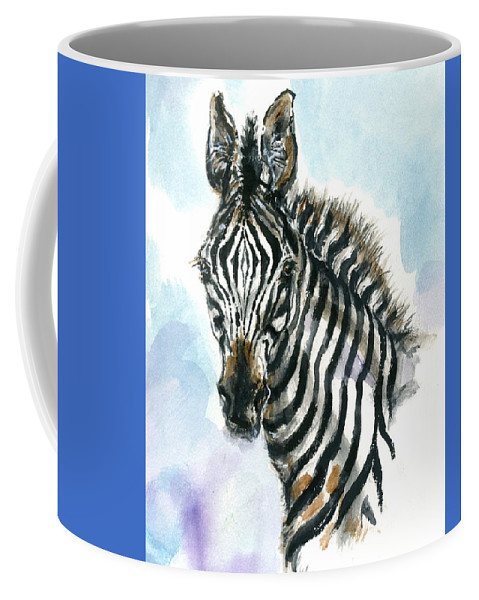 Mary Ogden Armstrong Coffee Mug featuring the painting Zebra 1 by Mary Armstrong