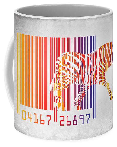 Zebra Coffee Mug featuring the painting Zebra Barcode by Mark Ashkenazi