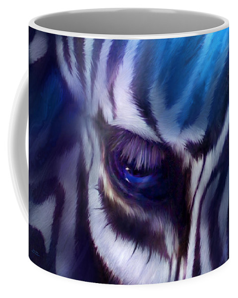 Zebra Coffee Mug featuring the mixed media Zebra Blue by Carol Cavalaris