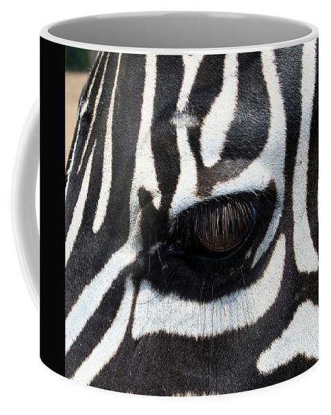 Zebra Coffee Mug featuring the photograph Zebra Eye by Linda Sannuti