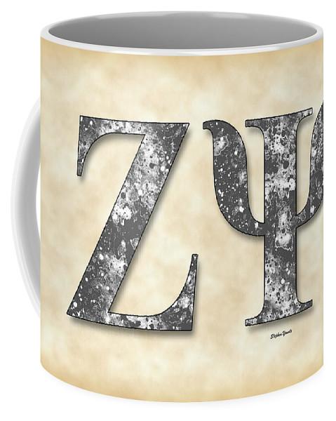 Zeta Psi Coffee Mug featuring the digital art Zeta Psi - Parchment by Stephen Younts
