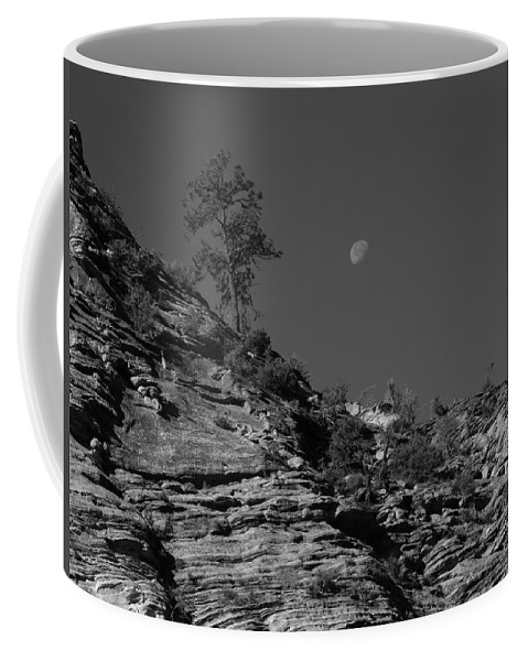 Zion National Park And Moon In Black And White Coffee Mug featuring the photograph Zion National Park And Moon In Black And White by Dan Sproul