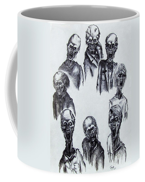 Michael Coffee Mug featuring the drawing Zombies by Michael TMAD Finney