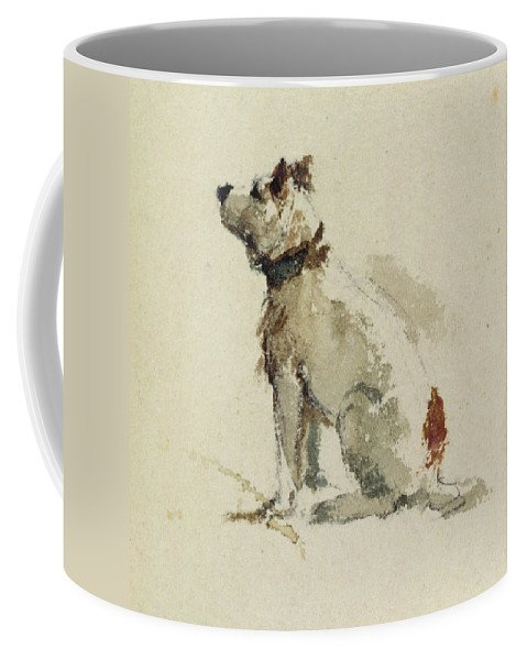 Terrier Coffee Mug featuring the painting A Terrier - Sitting Facing Left by Peter de Wint