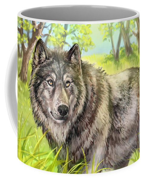 Wolf Coffee Mug featuring the painting Wolf Summer by Paul Van Scott