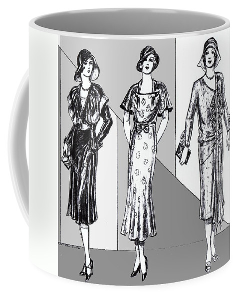 Nostalgia Coffee Mug featuring the drawing 1930s Dresses by Mel Thompson