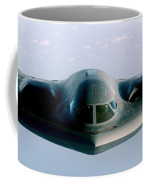 Color Image Coffee Mug featuring the photograph A B-2 Spirit Takes On Fuel by Stocktrek Images