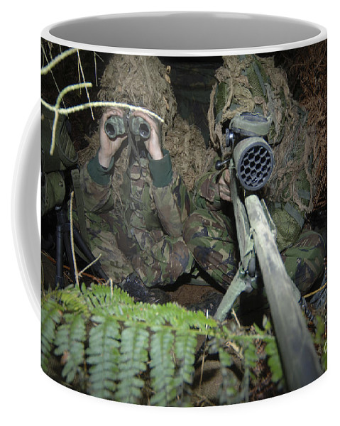 Rifle Coffee Mug featuring the photograph A British Army Sniper Team Dressed by Andrew Chittock