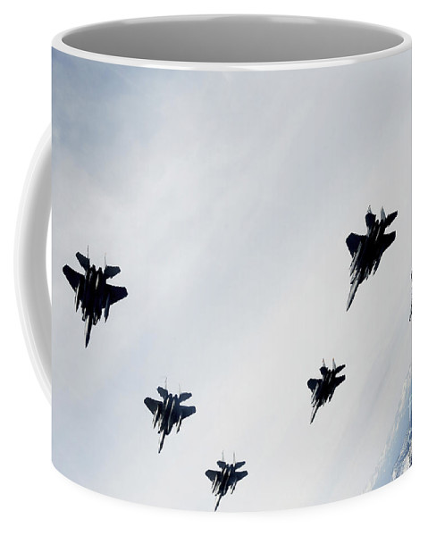 F-15 Eagle Coffee Mug featuring the photograph A Six-ship Formation Of Aircraft Fly by Stocktrek Images
